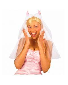 Pink devil bridal veil
