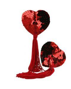 Love Heart Nipple Tassels - Rød